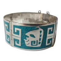 Castaneda Taxco Sterling Silver and Crushed Turquoise Aztec Mask Bracelet