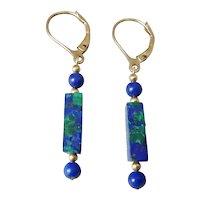 Pair of Rectangle Azurite Malachite and Round Lapis  Bead Dangle Earrings