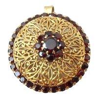 18K Gold & Red Garnet Filigree Pendant, Brooch, or Scarf Pin