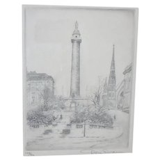 Signed Don Swann Etching of Baltimore Monument in the Snow #248/300