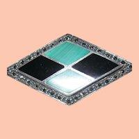 Malachite, Marcasite and Onyx Deco Pin