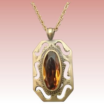 Vintage Pendant w Oval Cut Amber Glass