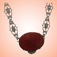 Art Deco Sterling, Marcasite, Carnelian Necklace