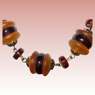 Art Deco Style Glass Beads in Butterscotch & Brown