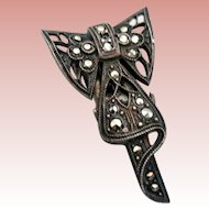 Tiny Art Deco, Sterling and Marcasite Clip Pin