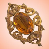 Sweet Little  Art Nouveau Pin of GF with Topaz Glass