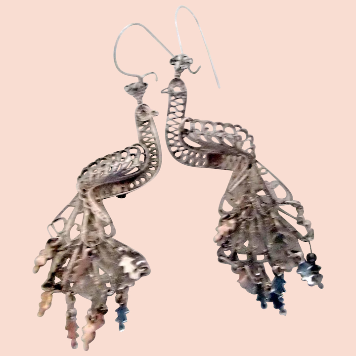 817b00da3 Vintage Delicate Silver Dangling Peacock Earrings : Girl Stuff Antique and Vintage  Jewelry | Ruby Lane