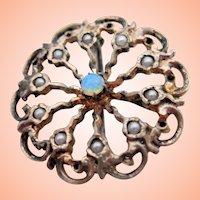 Dainty Victorian Pin w Opal, Pearls.