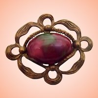 Vintage Art Nouveau Pin w Rosy Art Glass
