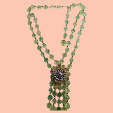 Vintage Necklace & Earrings - Spring Green