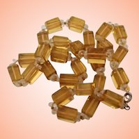 Vintage Citrine Colored Glass Beads