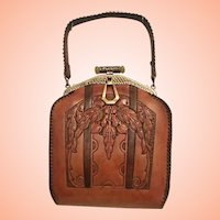 Art Nouveau  Tooled Leather Purse