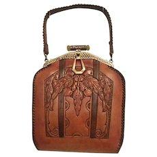 1b665530528a Art Nouveau Tooled Leather Purse