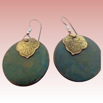Vintage Dark Green Earrings w Brass