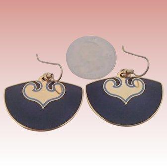 Laurel Burch Vintage Earrings in Fan Shape