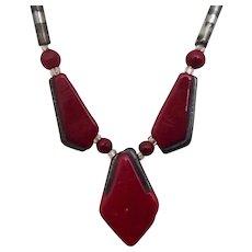 Czech Necklace in Dark Red w Silver