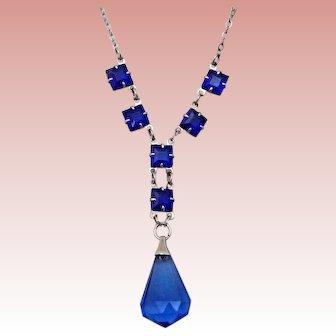 Dainty Blue Czech Necklace