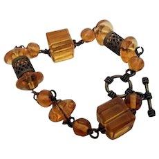 Bracelet from Czech Beads, Brass