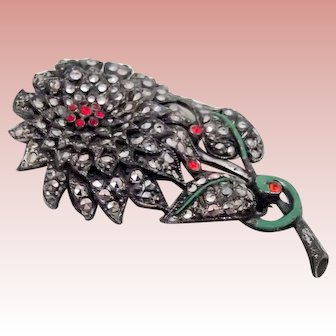 Large Marcasite Flower Pin