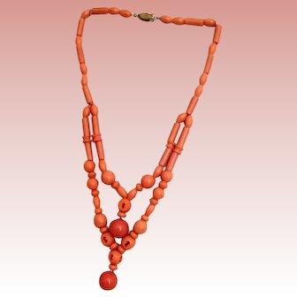 Coral Celluloid Double Necklace