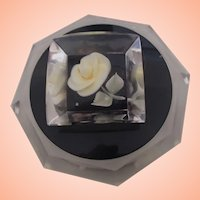Lucite Powder Box w yellow, black