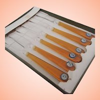 6 Czech Glass Butter Knives