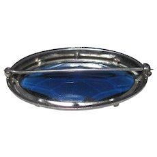 Sterling Pin w Blue Glass, Black Enamel