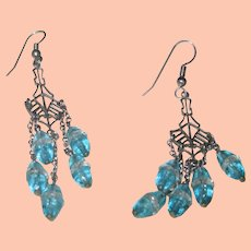 Beautiful Dangling Glass Earrings in Aqua
