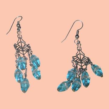 Beautiful Dangling Glass Earrings in Aqua