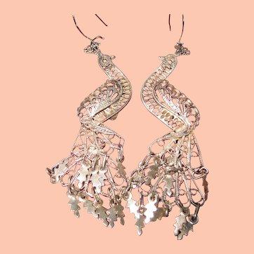 Silver Peacock Dangle Earrings