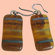 Fused Glass Earrings Gold w Yellow, Blue