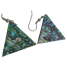 Dyed Abalone Shell Triangular Earrings