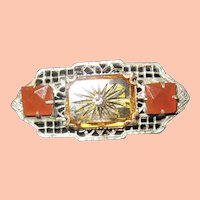 Dainty Art Deco Pin w Carnelian and Yellow Colors