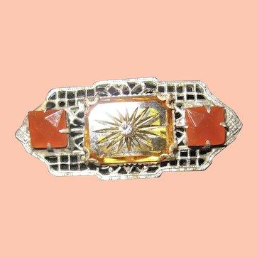 Dainty Art Deco Pin w Carnelian and Yellow Colors