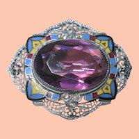 Art Deco Enamel Rhodium Pin w Amethyst Glass