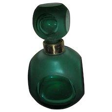 Vintage Dark Green Glass Perfume w Stopper