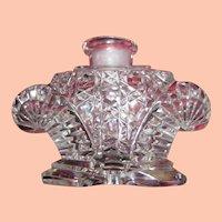 Czech Clear Cut Glass Perfume w Lt. Blue Stopper