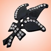 Early Plastic Black Deco Pin w Rhinestones