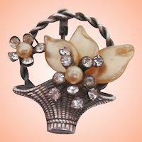 Cute Victorian Basket Pin w Rhinestones & Faux Pearls