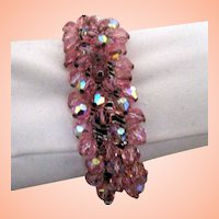 Sparkling Expansion Bracelet w Pink Glass Beads