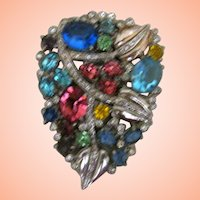 Czech Dress Clip w Pastel Stones - Many Colors