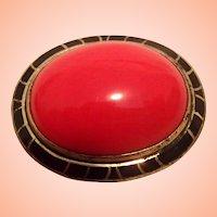 Red & Black Art Deco Pin - Czech