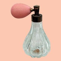 Vintage Bubble Glass Perfume w Pink Bulb