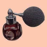 Petite Vintage Perfume of Cut Glass - Wine Color