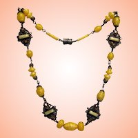 Yellow Czech Glass-Brass Necklace w Topaz, Finished Backs