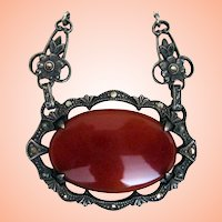Art Deco Sterling, Marcasite & Carnelian Necklace from 20's