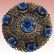 Big Sparkly Round Signed Czech Pin-Brooch w Open Backed Faceted  Glass Stones