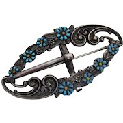 Victorian Sterling Buckle Pin w Forget-Me-Nots