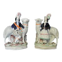 Pair of Staffordshire Children with Sheep