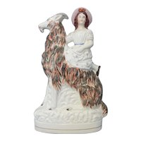 Large Staffordshire Girl and Goat Figure